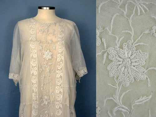 1920s Embroidered White Silk Net Lace Wedding Dress