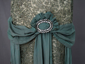 Jade Green Silk Lame Sash with Paste Rhinestone Buckle