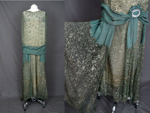 Load image into Gallery viewer, 1920s Silk Net Lace Gown Gold Metal Embroidery Jade Green Silk Lame