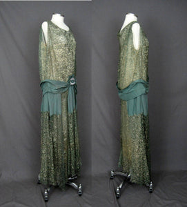 1920s Silk Net Lace Gown Gold Metal Embroidery Jade Green Silk Lame