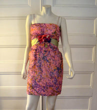 Load image into Gallery viewer, 1960s Strappy Mini Dress Pink Purple Silk Party Dress Sam Friedlander