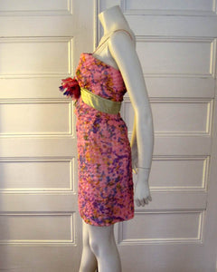 1960s Strappy Mini Dress Pink Purple Silk Party Dress Sam Friedlander