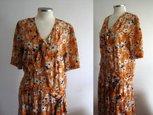 Load image into Gallery viewer, 1920s Silk Flapper Dress Orange Floral Novelty Print