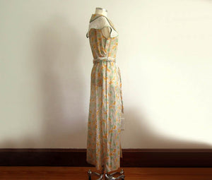 1930s Green Mustard Floral Print Cotton Voile Day Dress Excellent