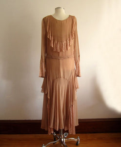 1920s Silk Flapper Dress Dusty Rose Illusion Lace Cape Collar