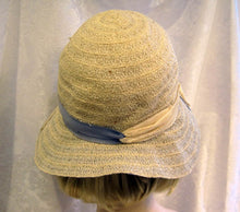 Load image into Gallery viewer, DEADSTOCK 1920s Flapper Cloche Hat Cream Blue Raffia Wide Brim