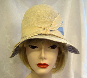 DEADSTOCK 1920s Flapper Cloche Hat Cream Blue Raffia Wide Brim