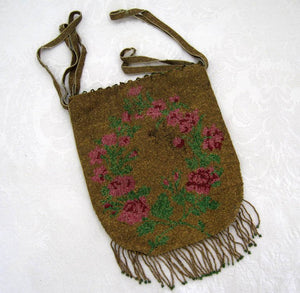 1920s Beaded Flapper Purse Micro Bead Reticule Pink Roses