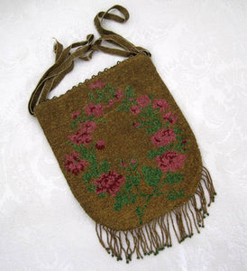 Antique 1920s Beaded Flapper Purse Micro Bead Reticule Pink Roses