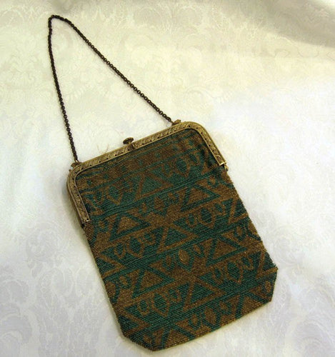 1920s Art Deco Egyptian Revival Micro Beaded Flapper Purse