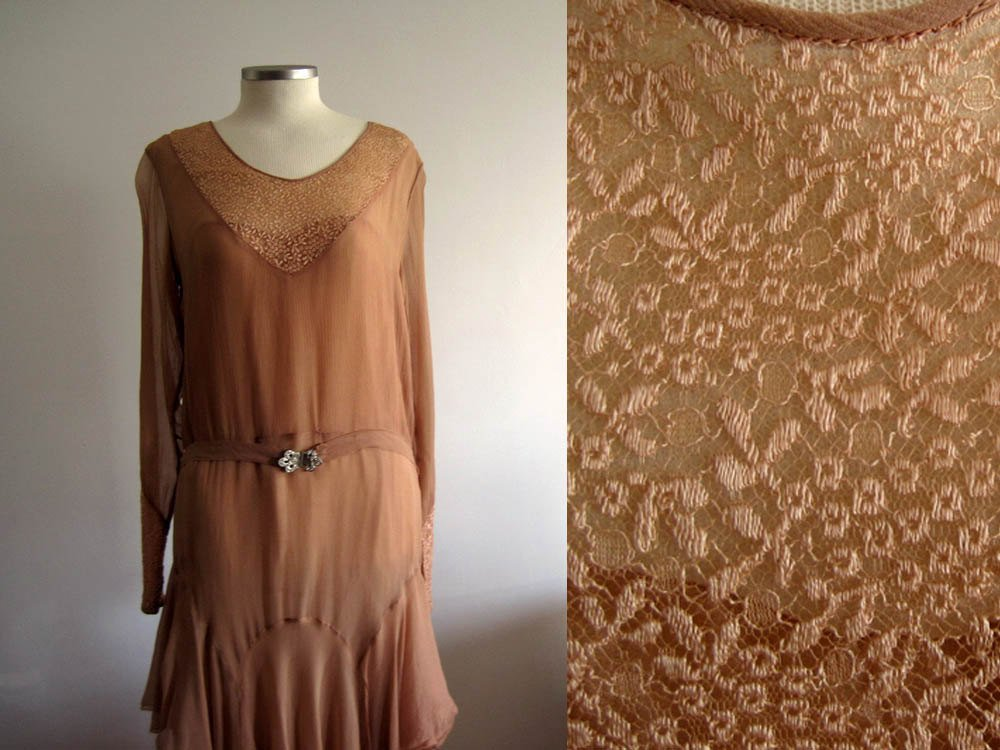 1920s Rose Silk Chiffon Flapper Dress Cape Collar