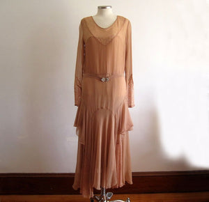 1920s Silk Flapper Dress Dusty Rose Illusion Lace