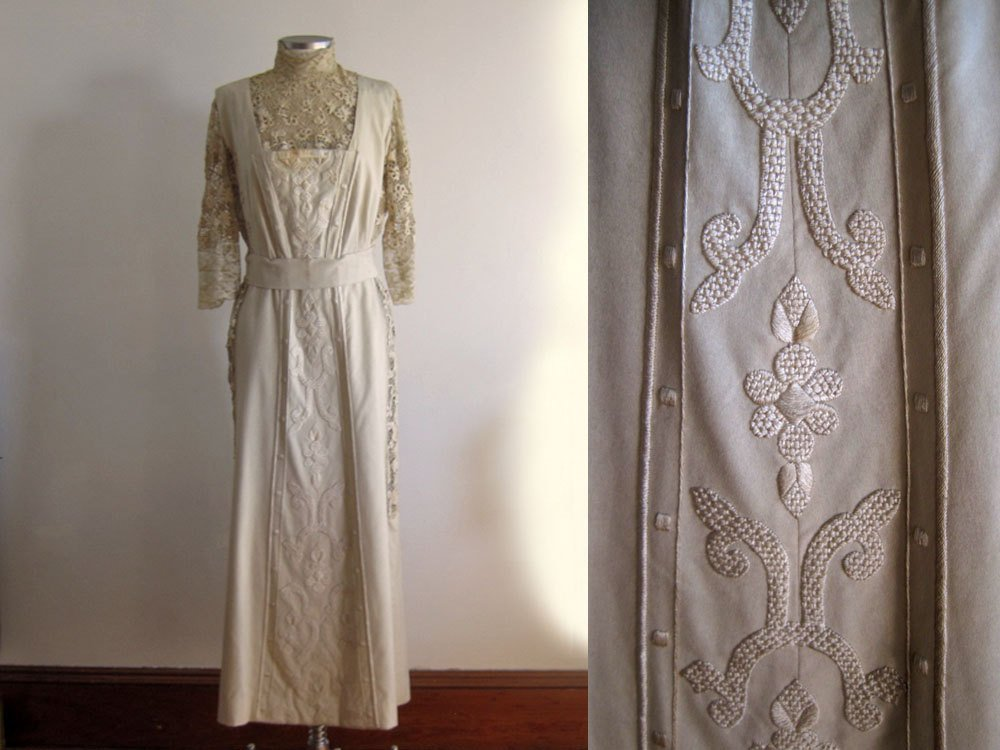 Edwardian Embroidered Wool Tea Gown Dress Irish Lace c1910