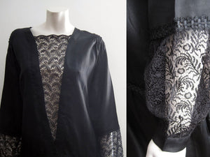 1920s Silk Flapper Dress Black Illusion Lace