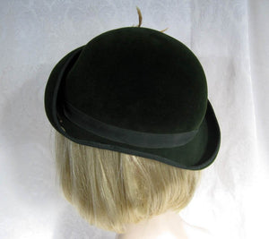 1940s Tilt Hat Dark Green Velour Tilt Hat 21""