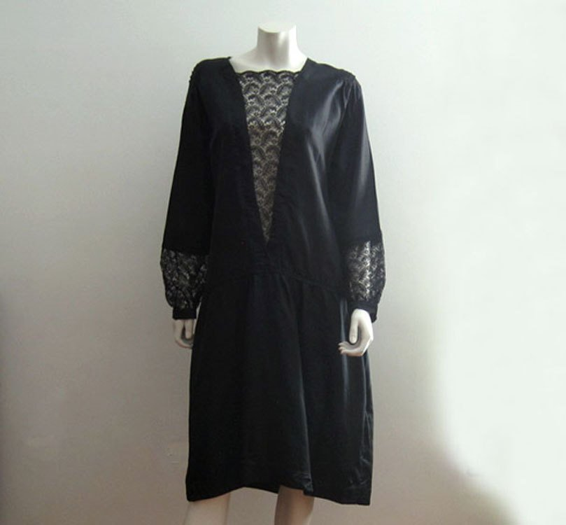 1920s Black Silk Illusion Lace Flapper Dress Rare Large Size