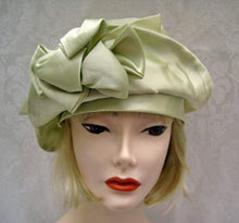 Load image into Gallery viewer, 1920s Green Silk Cloche Hat Pastel Green DEADSTOCK Cloche 21""