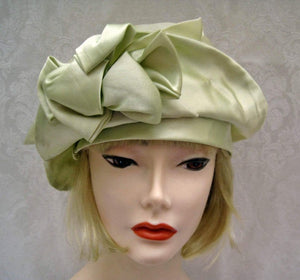 1920s Green Silk Cloche Hat Pastel Green DEADSTOCK Cloche 21""