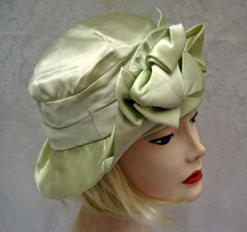 1920s Green Silk Cloche Hat Pastel Green DEADSTOCK Cloche 21