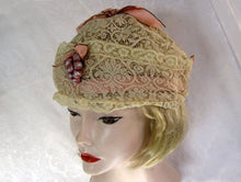 Load image into Gallery viewer, 1920s Lace Boudoir Cloche Cap