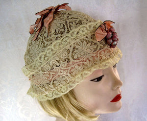 1920s Lace Boudoir Cloche Cap Silk Ribbonwork Size Adjustable to 24""