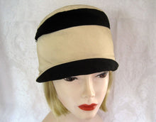Load image into Gallery viewer, 1920s Silk Cloche Hat Black & Tan Silk Faille Cloche 21""