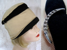 "Load image into Gallery viewer, 1920s Black & Tan Silk Faille Cloche Hat 21"" Paste Crescent"