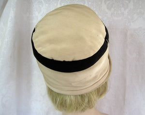 1920s Silk Cloche Hat Black & Tan Silk Faille Cloche 21""