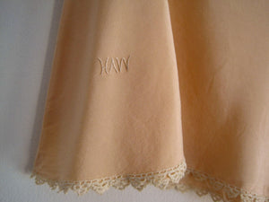 1920s Peach Silk Crepe Tap Pants Tatted Lace Silk Panties Flapper Lingerie