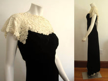 Load image into Gallery viewer, 1930s Black Liquid Velvet Gown Brussels Lace Collar V-Back