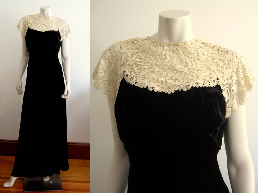 1930s Black Liquid Velvet Gown Brussels Duchesse Lace Collar