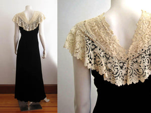 1930s Black Liquid Velvet Gown Brussels Lace Collar V-Back