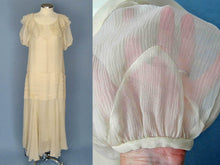 Load image into Gallery viewer, 1930s Asymmetrical Ivory Silk Chiffon Dress Wedding Gown