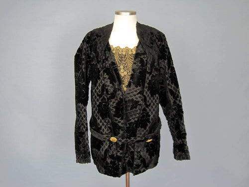 Antique Victorian Bodice Jacket Metal Lace Black Voided Velvet 1880s