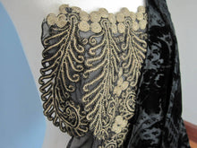 Load image into Gallery viewer, Antique Victorian Bodice Jacket Metal Lace Black Voided Velvet 1880s