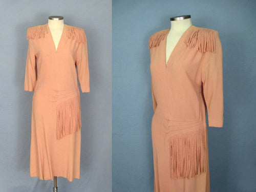 1940s WWII Era Fringed Peach Pink Rayon Dance Dress