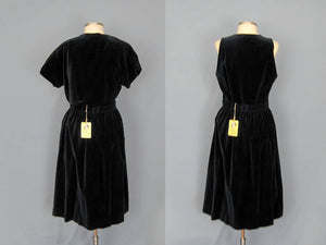 1950s Blue Velvet 2 Piece Dress Dell Tween DEADSTOCK