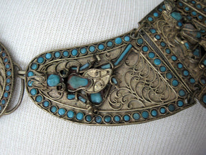 1930s Tibetan Buddhist Ceremonial Collar Necklace Brass Turquoise Glass