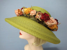 Load image into Gallery viewer, Kiwi Green Kokin Straw Hat Wide Brim Pink Yellow Roses Derby Tea Party 1980s