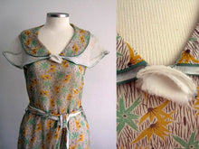 Load image into Gallery viewer, 1930s Green Mustard Floral Print Cotton Voile Day Dress Excellent