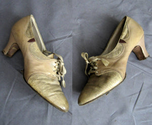 1920s Tan Leather Flapper Brogue Shoes