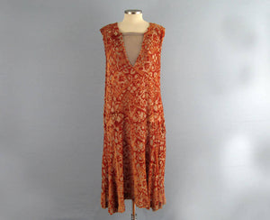 1920s Silk Flapper Dress Orange Burnout Velvet Egyptian Revival