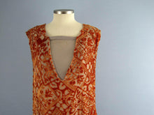 Load image into Gallery viewer, 1920s Silk Flapper Dress Orange Burnout Velvet Egyptian Revival