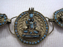 Load image into Gallery viewer, 1930s Tibetan Buddhist Ceremonial Collar Necklace Brass Turquoise Glass
