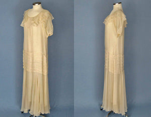 1930s Ivory Silk Chiffon Dress 30s Silk Wedding Gown