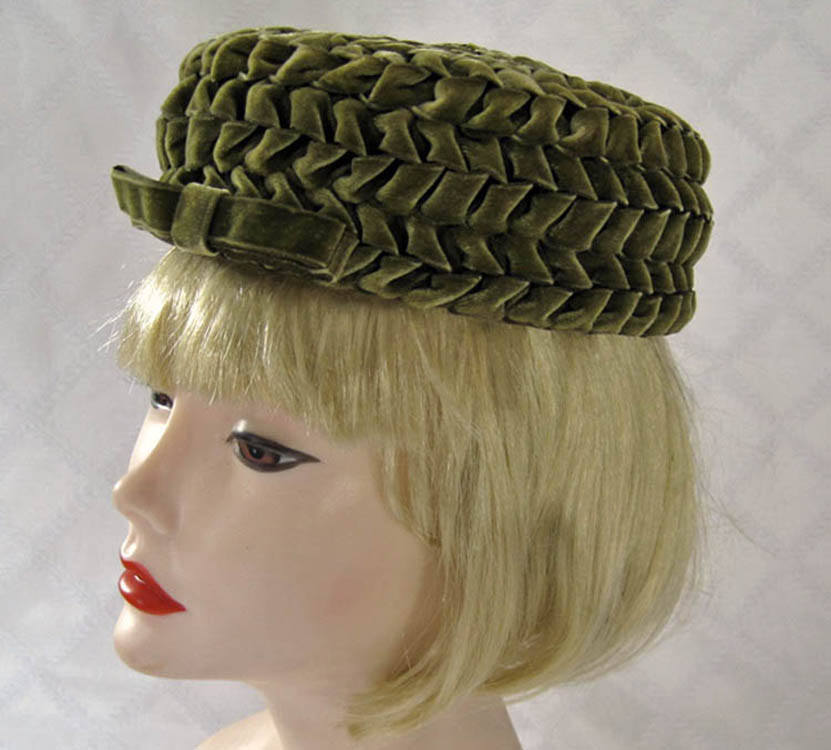 1950s Pillbox Hat Olive Green Braided Velvet Betmar 21
