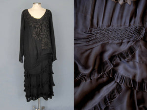 1920s Blue Silk Dress Honeycomb Smocking Schiffli Lace Flapper Dress