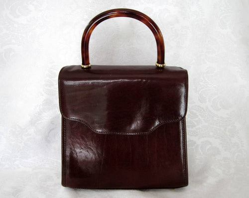 1990s Brahmin Brown Leather Handbag Tortoise Lucite Handle