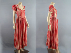 1950s Swing Dress Red White Gingham Full Sweep Gown