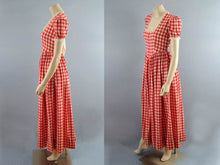 Load image into Gallery viewer, 1950s Swing Dress Red White Gingham Full Sweep Gown